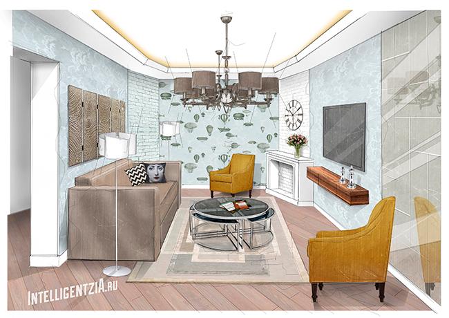 дизайн стильной гостиной москва