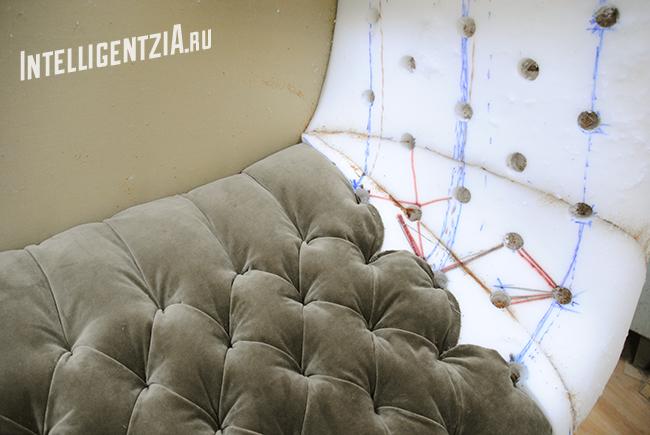перетяжка дивана с каретной стяжкой