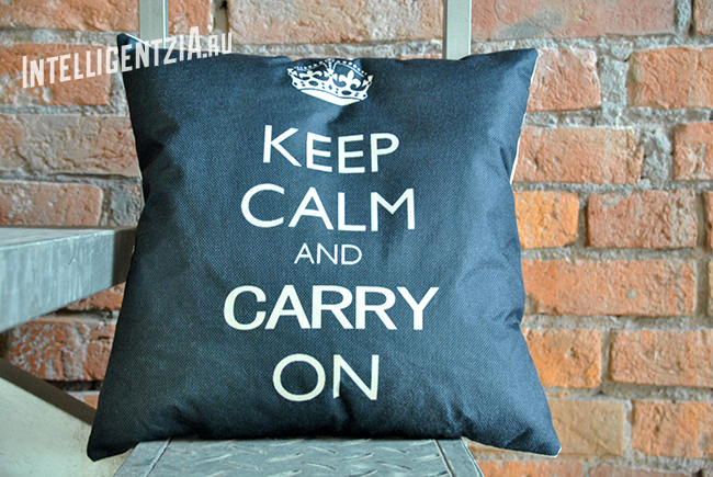 подушка keep calm and carry on