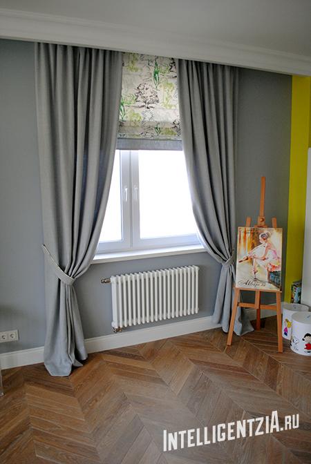 шторы из серой рогожки