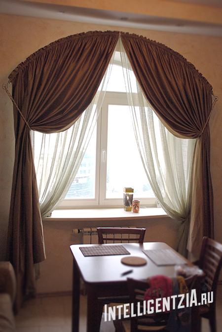 шторы на арочном окне