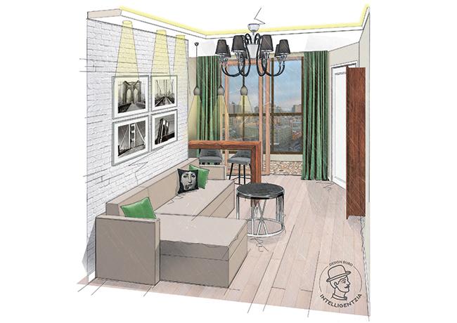 визуализация гостиной